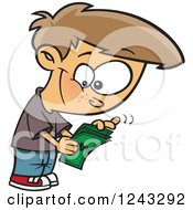 Clipart Of A Cartoon Caucasian Boy Counting His Allowance Money Royalty Free Vector Illustration