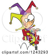 Clipart Of A Cartoon Caucasian Boy Joker On A Pogo Stick Royalty Free Vector Illustration