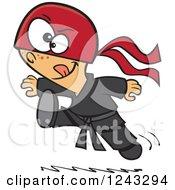 Cartoon Boy Ninja Jumping And Kicking