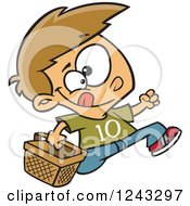 Clipart Of A Cartoon Caucasian Boy Running With An Easter Basket Royalty Free Vector Illustration
