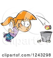 Clipart Of A Cartoon Caucasian Girl Tossing Garbage In The Trash Royalty Free Vector Illustration