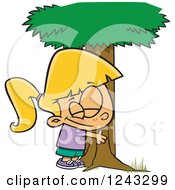 Cartoon Caucasian Girl Hugging A Tree