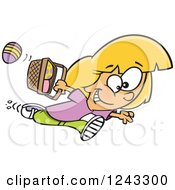 Clipart Of A Cartoon Caucasian Girl Running With Eggs In An Easter Basket Royalty Free Vector Illustration