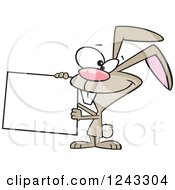 Clipart Of A Cartoon Brown Easter Bunny Rabbit Holding A Sign Royalty Free Vector Illustration