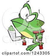 Clipart Of A Cartoon Lame Injured Frog With Crutches Royalty Free Vector Illustration