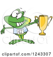 Clipart Of A Cartoon Winner Frog Holding Up A Trophy Royalty Free Vector Illustration by toonaday