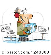 Clipart Of A Cartoon Caucasian Man Holding Ice Around Sales Signs Royalty Free Vector Illustration by toonaday