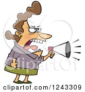 Cartoon Caucasian Woman Boss Mother Or Wife Screaming Through A Megaphone