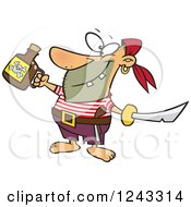 Clipart Of A Cartoon Celebrating Pirate With Poison And A Sword Royalty Free Vector Illustration