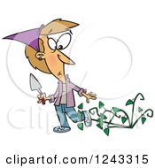 Clipart Of A Cartoon Caucasian Woman Being Attacked By Bad Weeds Royalty Free Vector Illustration