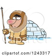 Clipart Of A Cartoon Eskimo Hunter Man By An Igloo Royalty Free Vector Illustration by toonaday