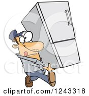 Clipart Of A Cartoon Caucasian Delivery Man Carrying A Fridge Royalty Free Vector Illustration