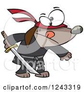 Cartoon Ninja Dog Holding A Sword