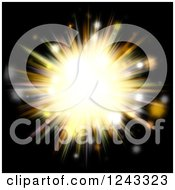 Clipart Of A Golden Burst Of Light Over Black Royalty Free Illustration by Arena Creative