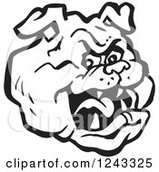 Clipart Of A Black And White Bulldog Head Royalty Free Vector Illustration