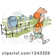 Clipart Of A Caucasian Woman Whistling While Walking Past A Graveyard Royalty Free Vector Illustration