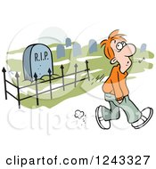 Clipart Of A Caucasian Man Whistling While Walking Past A Graveyard Royalty Free Vector Illustration