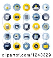 Clipart Of Round Office And Media Icons Royalty Free Vector Illustration by elena