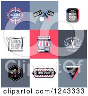 Clipart Of Barber Shop Designs And Labels Royalty Free Vector Illustration