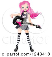 Clipart Of A Pink Haired Punk Rocker Girl With A Guitar Royalty Free Vector Illustration