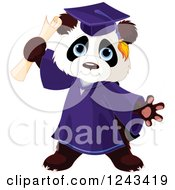 Clipart Of A Cute Graduate Panda Holding A Diploma Royalty Free Vector Illustration