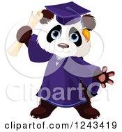 Cute Graduate Panda Holding A Diploma