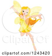 Clipart Of A Beautiful Yellow Fairy Holding Her Arms Up Royalty Free Vector Illustration by Pushkin