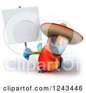 Clipart Of A 3d Mexican Macaw Parrot Wearing A Sombrero Hat And Holding A Blank Sign Royalty Free Illustration