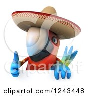 Clipart Of A 3d Mexican Macaw Parrot Wearing A Sombrero Hat And Holding A Thumb Up Over A Sign Royalty Free Illustration