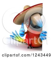 Clipart Of A 3d Mexican Macaw Parrot Wearing A Sombrero Hat And Holding A Thumb Up Around A Sign Royalty Free Illustration