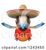 Clipart Of A 3d Mexican Macaw Parrot Flying And Wearing A Sombrero Hat Royalty Free Illustration