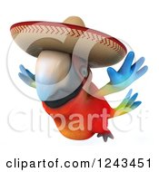 Clipart Of A 3d Mexican Macaw Parrot Flying And Wearing A Sombrero Hat 2 Royalty Free Illustration