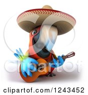 Clipart Of A 3d Mexican Macaw Parrot Wearing A Sombrero Hat And Playing A Guitar Royalty Free Illustration