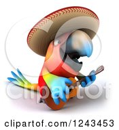 Clipart Of A 3d Mexican Macaw Parrot Wearing A Sombrero Hat And Playing A Guitar 2 Royalty Free Illustration