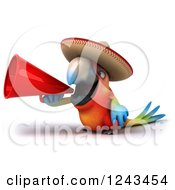 Clipart Of A 3d Mexican Macaw Parrot Wearing A Sombrero Hat And Using A Megaphone Royalty Free Illustration
