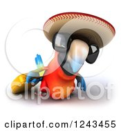 Clipart Of A 3d Mexican Macaw Parrot Wearing A Sombrero Hat And Sunglasses And Pulling Luggage Royalty Free Illustration