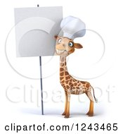 Clipart Of A 3d Giraffe Chef Smiling By A Blank Sign Royalty Free Illustration