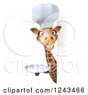 Clipart Of A 3d Giraffe Chef Smiling And Holding A Plate Around A Blank Sign Royalty Free Illustration