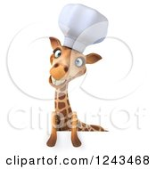 Clipart Of A 3d Giraffe Chef Smiling Over A Sign Royalty Free Illustration