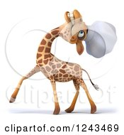 Clipart Of A 3d Giraffe Chef Laughing And Tilting His Head Back Royalty Free Illustration