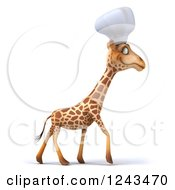 Clipart Of A 3d Giraffe Chef Walking Royalty Free Illustration