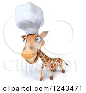 Clipart Of A 3d Happy Giraffe Chef Royalty Free Illustration