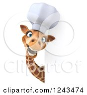 Clipart Of A 3d Giraffe Chef Smiling Around A Sign Royalty Free Illustration