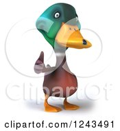 Clipart Of A 3d Mallard Drake Duck Giving A Thumb Up Royalty Free Illustration