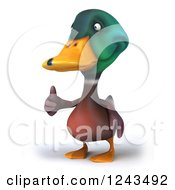 Clipart Of A 3d Mallard Drake Duck Giving A Thumb Up 2 Royalty Free Illustration