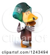 Clipart Of A 3d Mallard Drake Duck Holding A Thumb Around Over A Sign Royalty Free Illustration