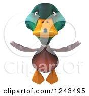 Clipart Of A 3d Mallard Drake Duck In Flight Royalty Free Illustration