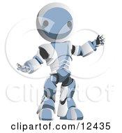 Blue Metal Robot Clipart Illustration
