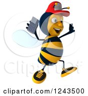 Clipart Of A 3d Bee Wearing A Baseball Cap And Jumping With A Smart Phone 2 Royalty Free Illustration
