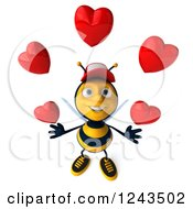 Clipart Of A 3d Bee Wearing A Baseball Cap And Juggling Hearts Royalty Free Illustration